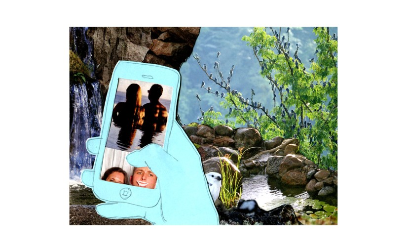 Illustration: paper cut-out person scrolling phone in front of lush waterfall