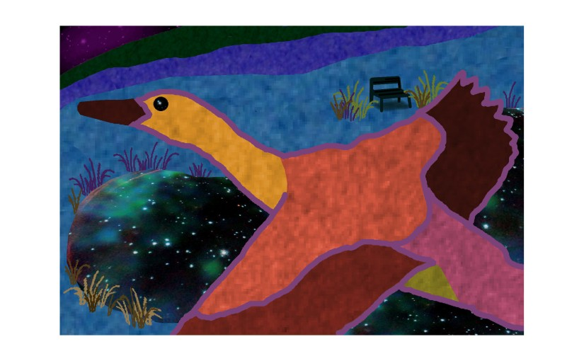 Illustration: duck flying over pond at night
