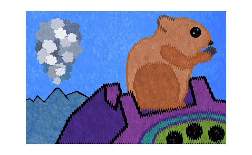 Illustration: volcano puffing while chipmunk tries to eat