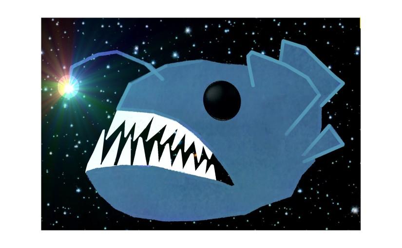 Illustration: lanternfish in sea of stars