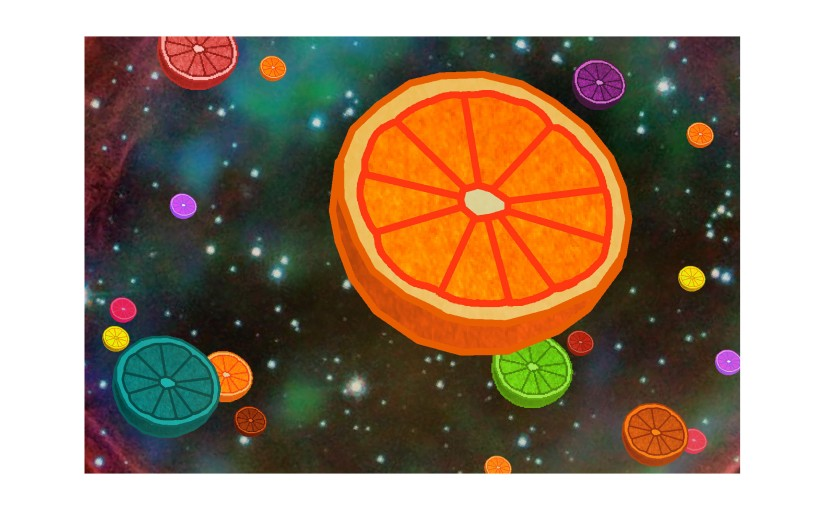 Illustration: oranges in outer space