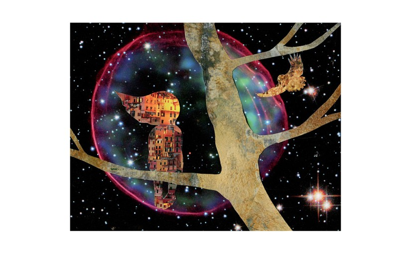 Illustration: nebula behind owl flying towards girl perched on tree