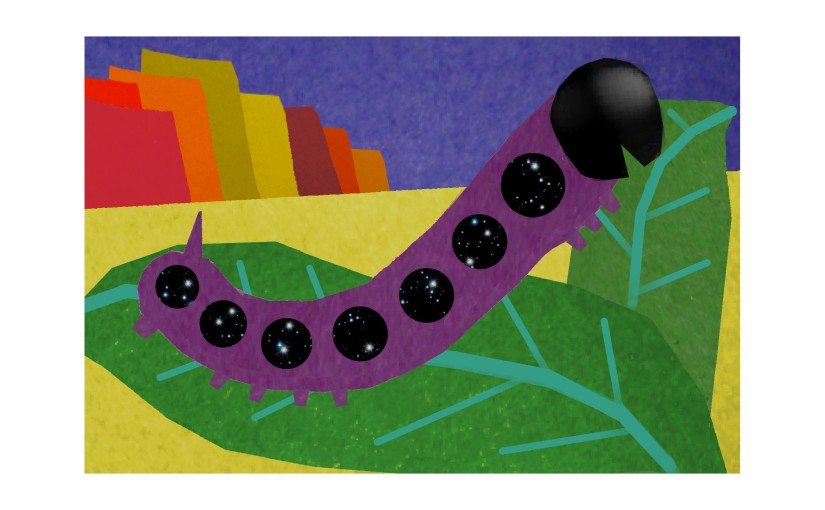 Illustration: stone mountains behind sphinx moth caterpillar on leaves