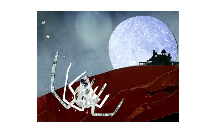 Illustration: moonrise behind house on hill in background, spider made of diamonds in foreground