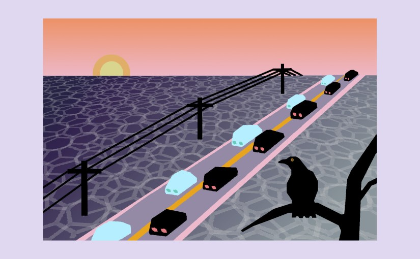 Illustration: crow at sunset watching ant-train of cars on an elephant landscape
