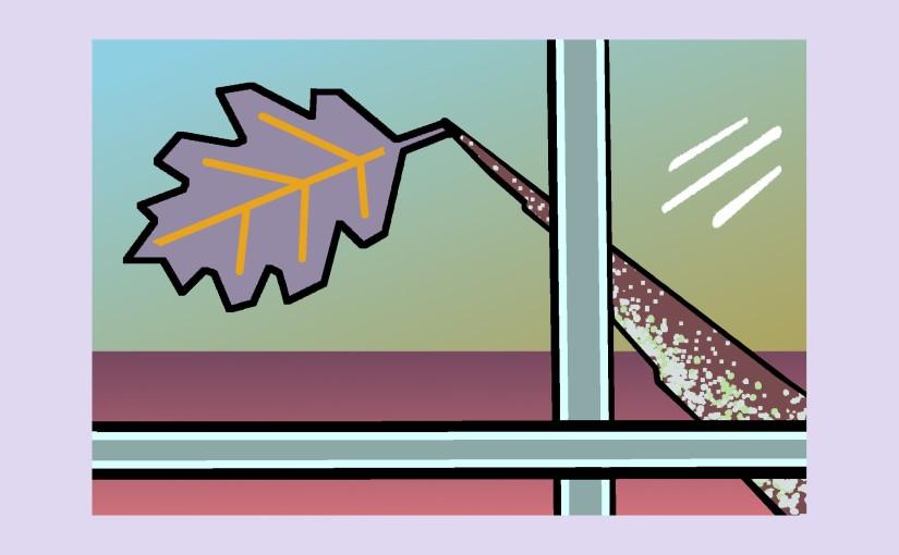 Illustration: window scene - last oak leaf clinging to a branch