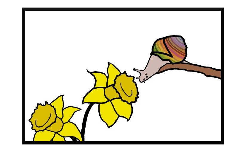 Illustration: snail inspecting daffodil