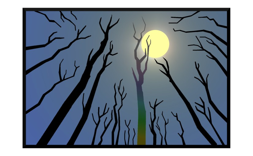 Illustration: tree snags reaching for the moon
