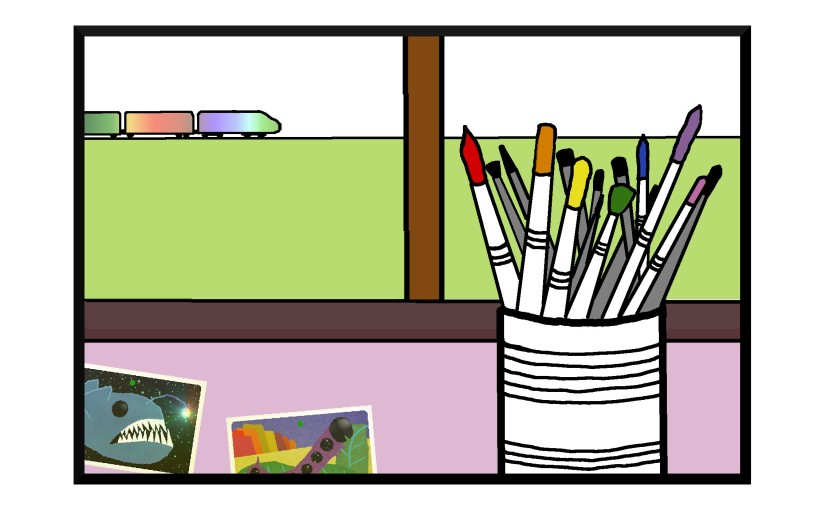 Illustration: paintbrush can in front of window, train across the field