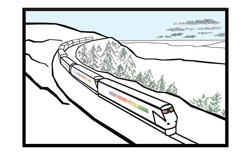 Illustration: train with rainbow interior in snowy landscape