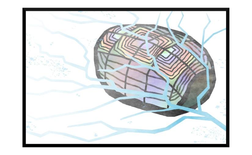 Illustration: rainbow-patterned turtle shell beneath lake ice