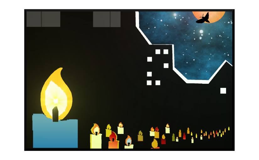 Illustration: candlight vigil in the city