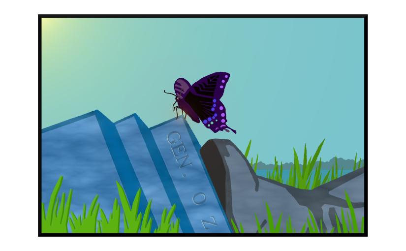 Illustration: butterfly perched on fallen statue of Gen. Ozymandias