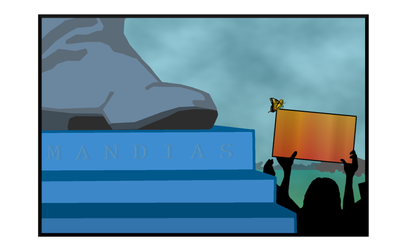 Illustration: butterfly perched on sign at protest of Ozymandias statue