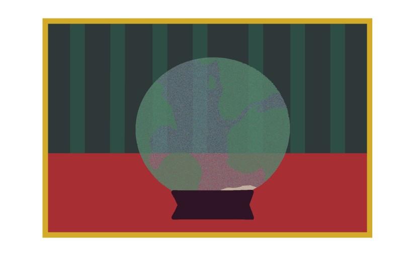 Illustration: earth globe as crystal ball