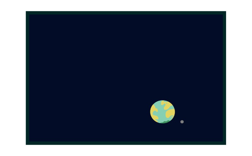 Illustration: earth and moon in space