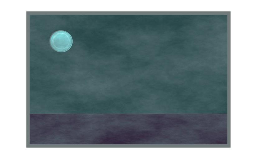 Illustration: hailstone moon on foggy night