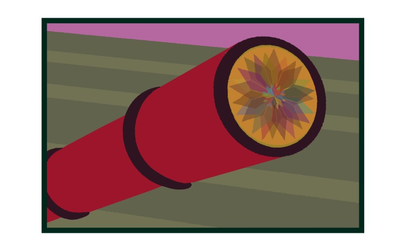 Illustration: spyglass pointed at sky