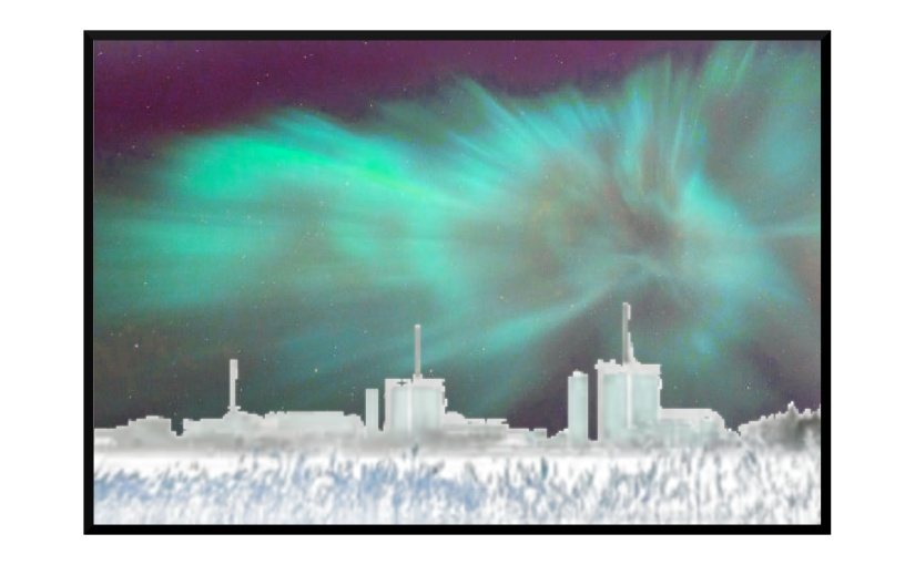 Illustration: aurora borealis above nuclear plant