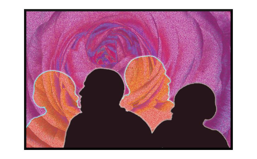 Illustration: silhouettes in front of a blooming sky