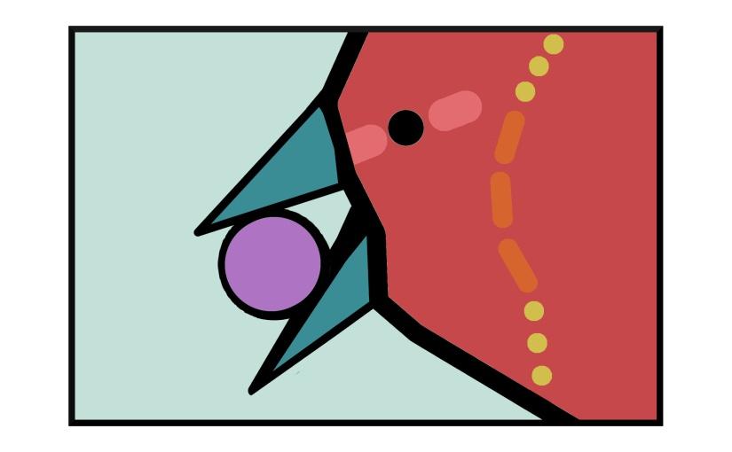 "Illustration: red bird holding gem in its beak, stripe on bird is Morse code ""SOS"""