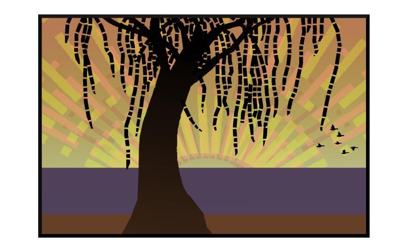 Illustration: silhouette of willow tree at sunrise, ducks in flight