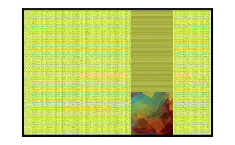 Illustration: bright colors peeking through nearly-closed curtains