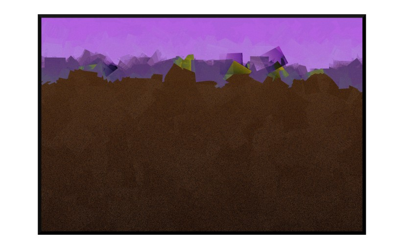 Illustration: dark abstract silhouette against a lilac sky