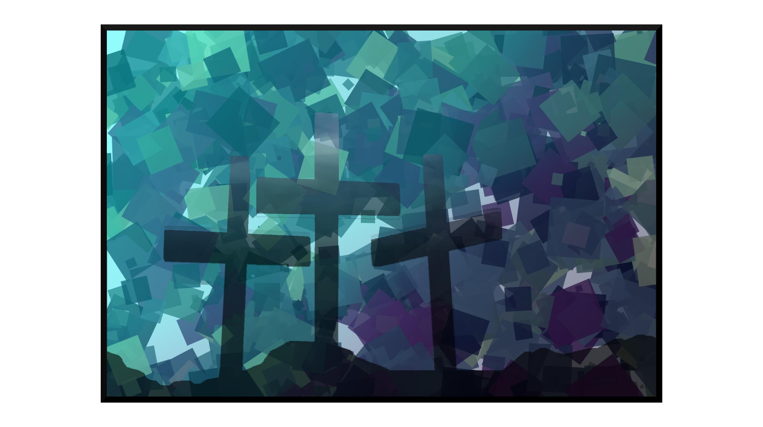 Illustration: shadows of crosses against a rainstorm