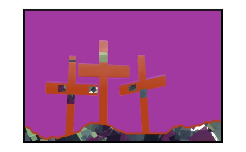 Illustration: three crosses on a hillside with a fuchsia sky