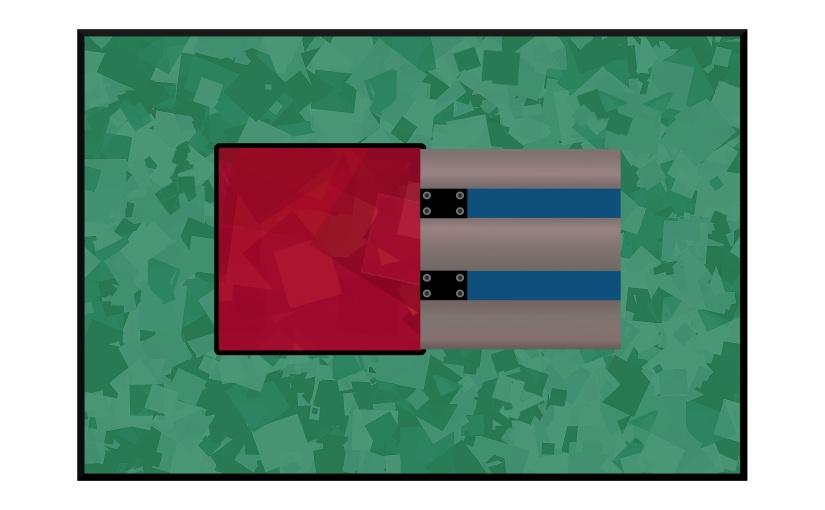 Illustration: green linoleum floor with trap door opening to red