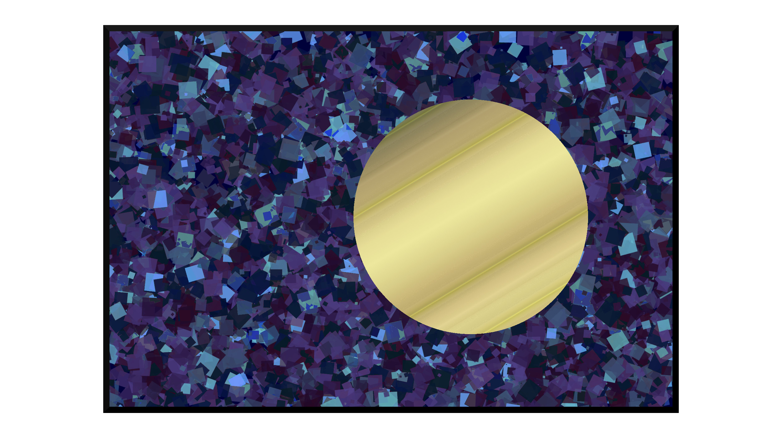 Illustration: venus glowing gold in outer space