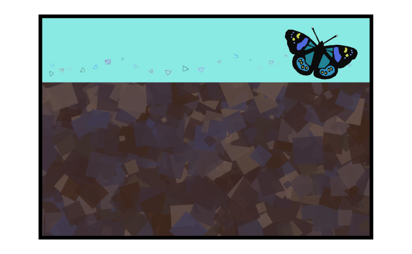Illustration: cross-section of abstract soil with butterfly