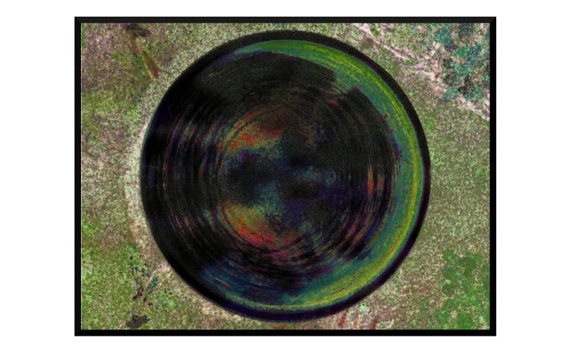 Illustration: birdbath photo digitally manipulated to suggest psychadelic hole in moss-covered surface