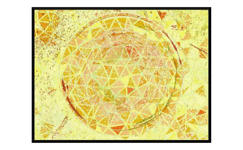Illustration: birdbath photo digitally manipulated into mosaic of yellow and orange triangles