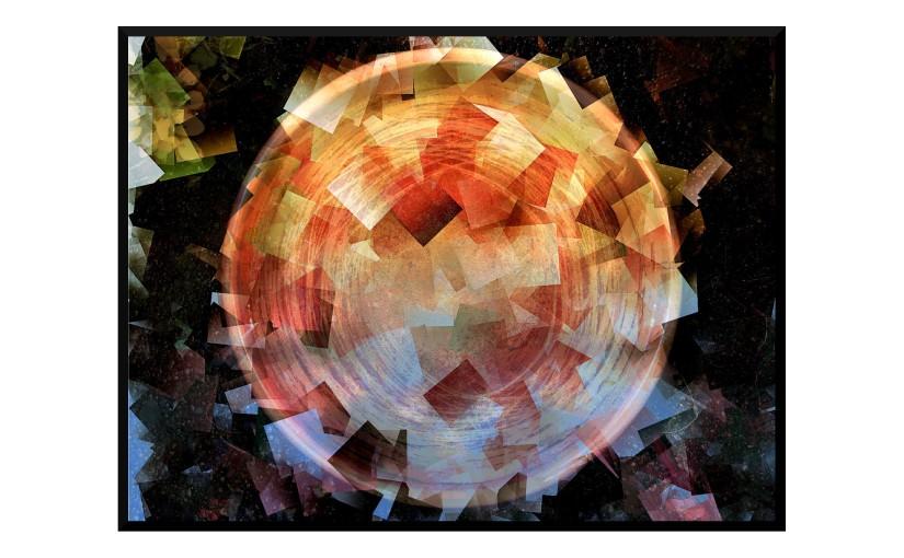 Illustration: birdbath photo digitally manipulated into abstract shapes and shards glowing at night