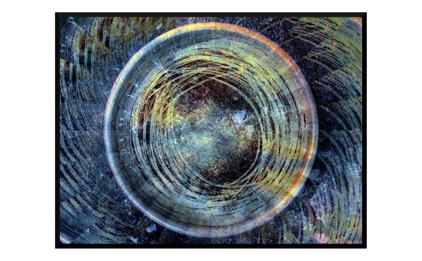 Illustration: birdbath photo digitally manipulated to look like whirling tornado or eyeball