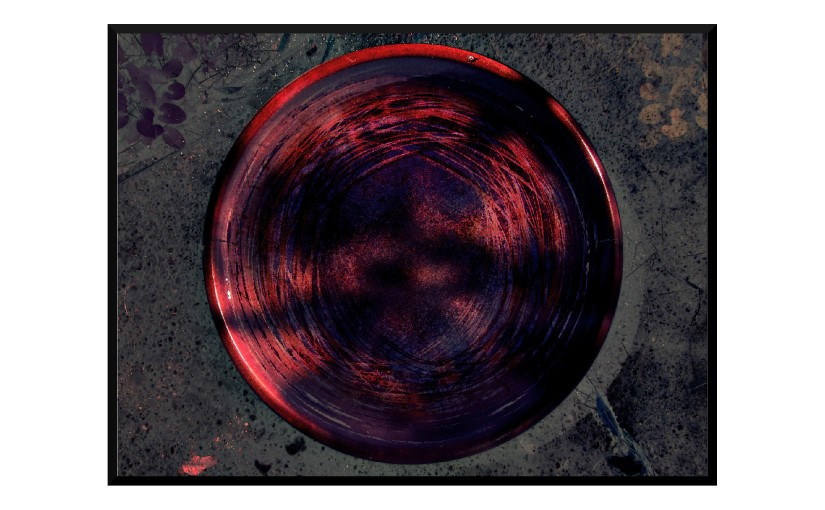 Illustration: birdbath photo digitally manipulated to resemble blood-red tree trunk with spooky shadows