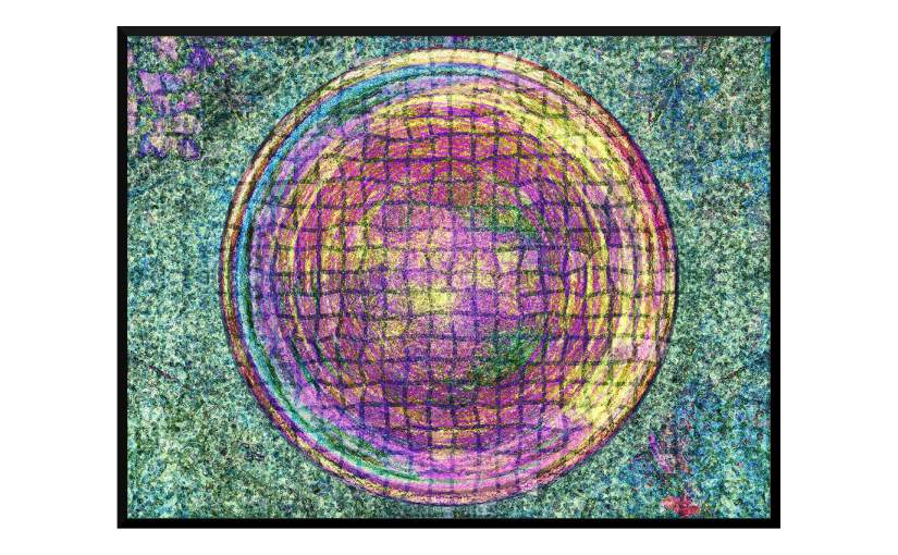 Illustration: birdbath photo digitally manipulated to resemble multi-colored abstract flowers held in place by tight screening